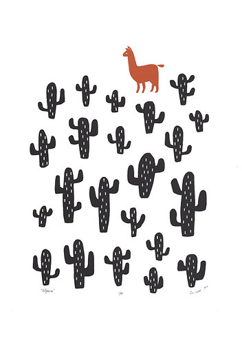 Alpaca Screen Print in Terracotta and Black by Lu West
