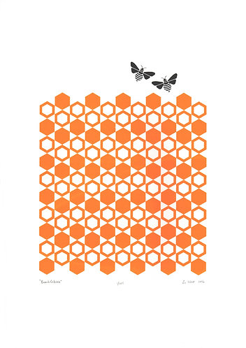 Bumblebees Screen Print in Honey Gold by Lu West