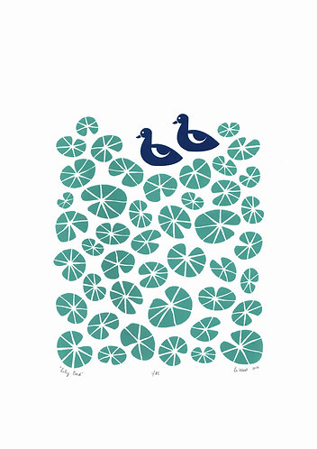 Lily Pond Print in Celadon Green and Midnight Blue by Lu West