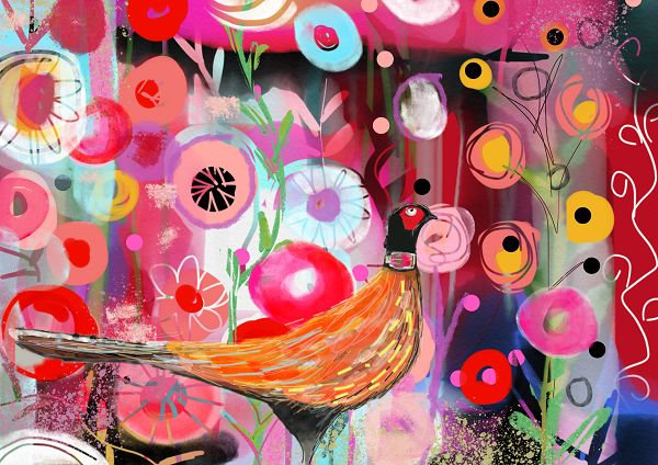 Pheasant art print for children
