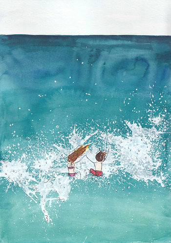 Jumping Waves A4 by Emma Thistleton