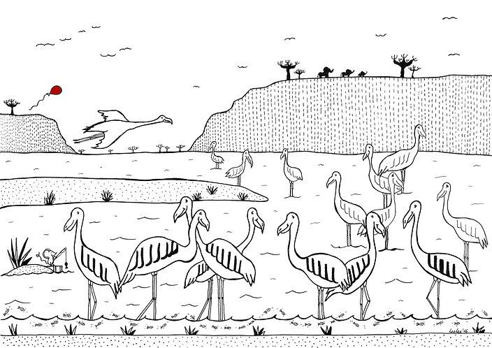 LeeLee Loves Africa - Dancing Flamingos by Leeanne Grassnick