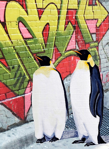 Two penguins with graffiti art print