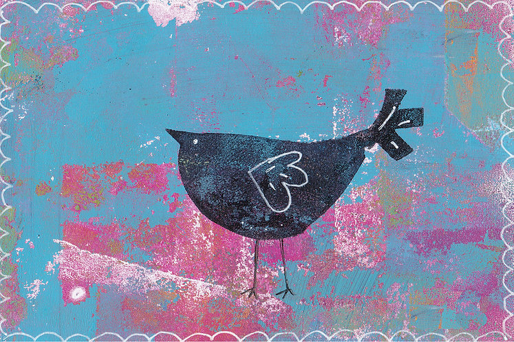 red and blue bird print