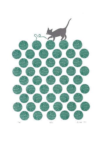 cat screenprint in green