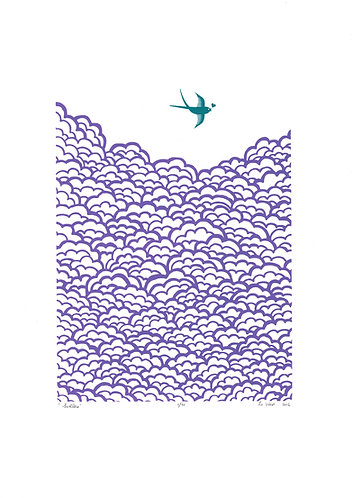 Swallow Screenprint in Amethyst and Biscay Bay by Lu West