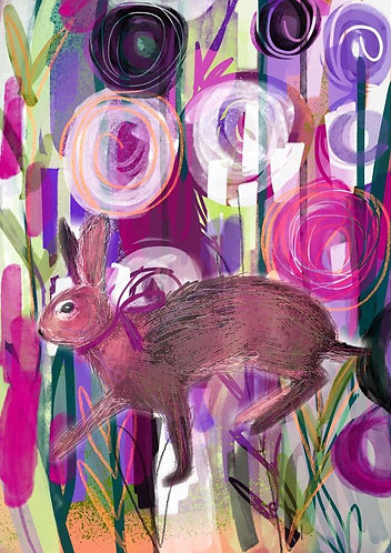 Hare in Garden by Claire Westwood