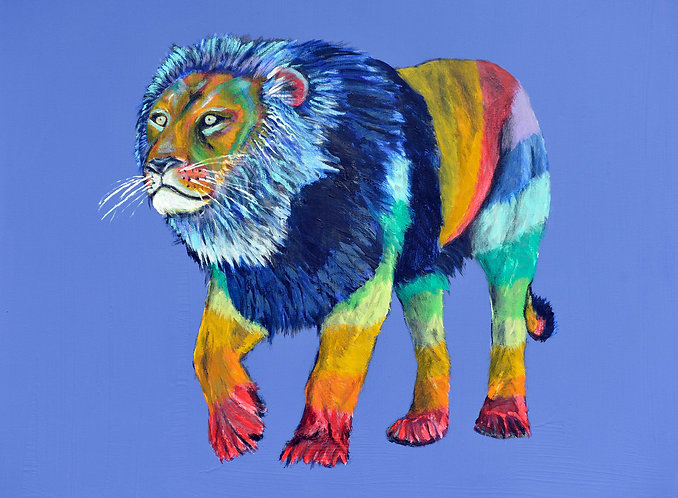 colourful lion print for children's rooms