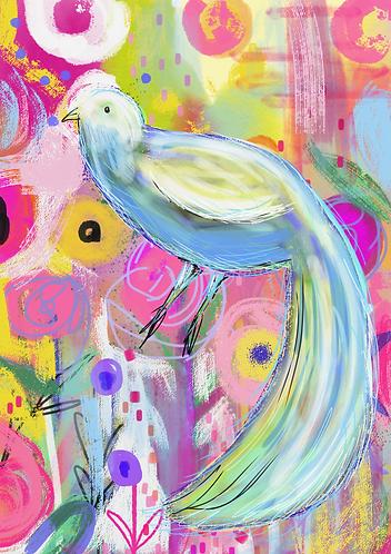 Bird and flower print
