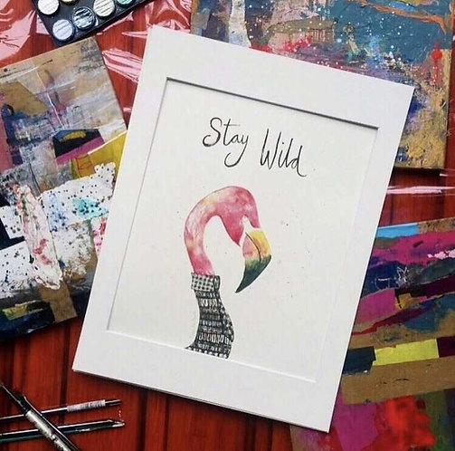 Flamingo art print for children