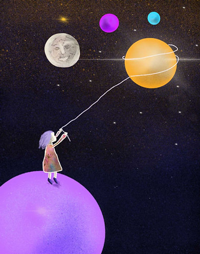 Girl catching planets art print
