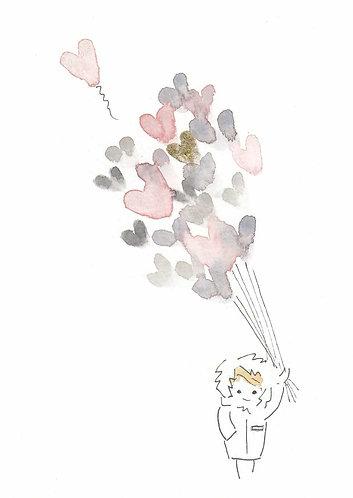 Balloon heart painting