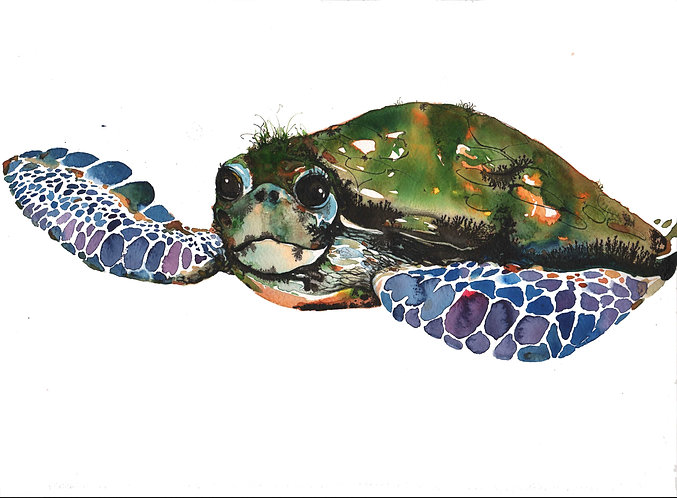 Turtle artprint for children