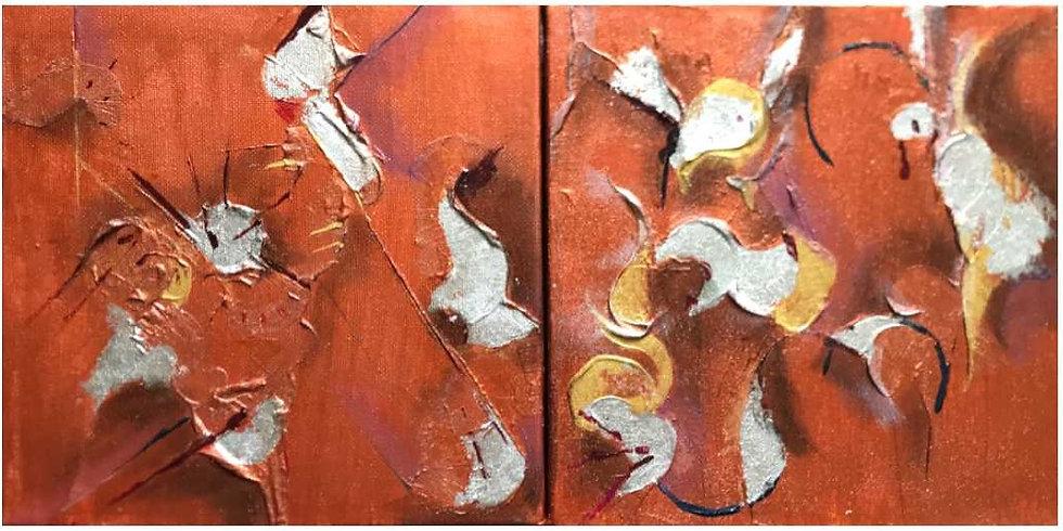 Hummingbird abstract painting