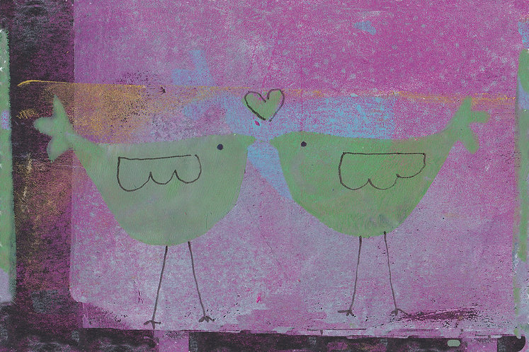 two birds on purple background