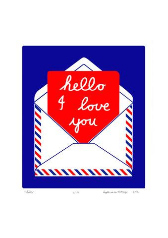 Share:     Save  Fancy   Charming and romantic fine art print of a handwritten I Love You note in a postal envelope in deep c