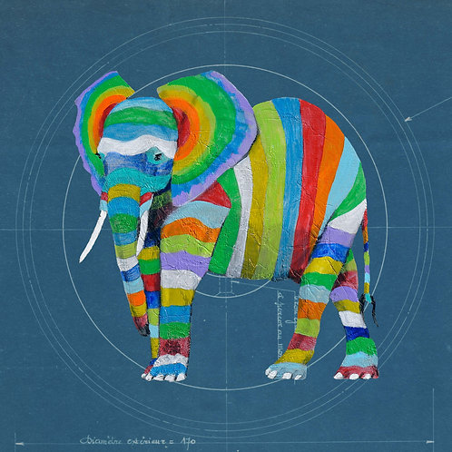 Green Elephant on Blueprint by Raph Thomas