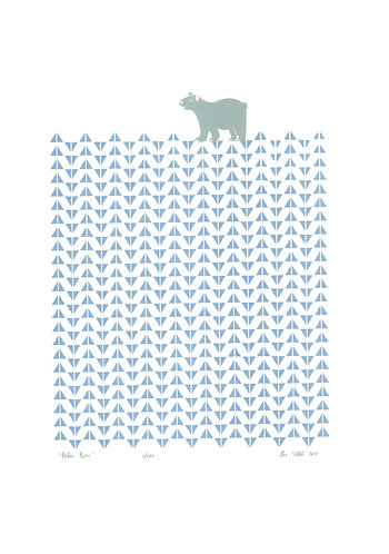 Polar Bear Screen Print in Ice Blue by Lu West