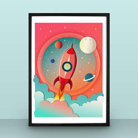 Pink rocket nursery poster