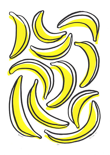 Bananas Screen Print in Yellow and Black by Lu West