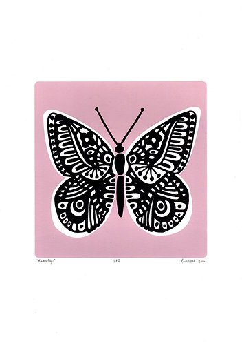 Butterfly Screen Print in Powder Pink by Lu West