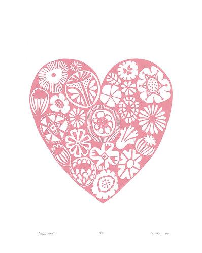 Flower Heart Screen Print in Rose Quartz by Lu West