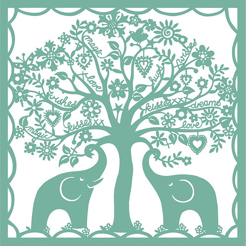 elephant and tree picture for children's rooms