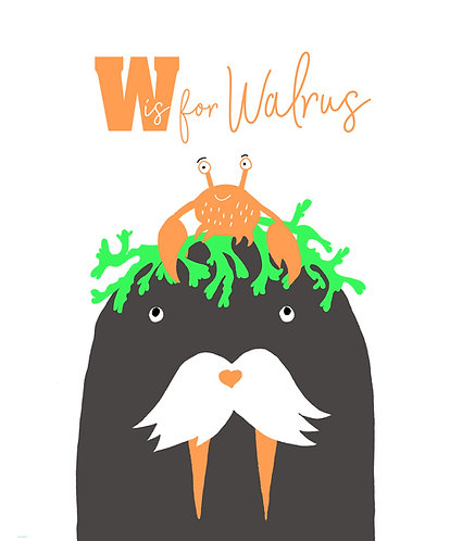 W is for Walrus print
