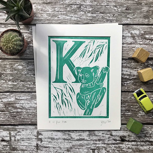 Initial Letter Print K (personalised) by The Mama Bjorn