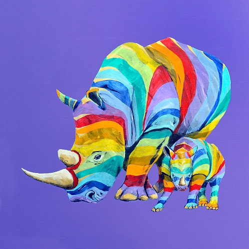 Rainbow Rhinos by Raph Thomas