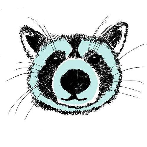 Raccoon print for children's rooms