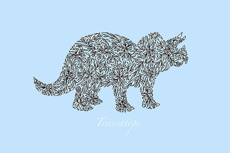 Triceratops (blue) by Lynn Selwyn-Reeves