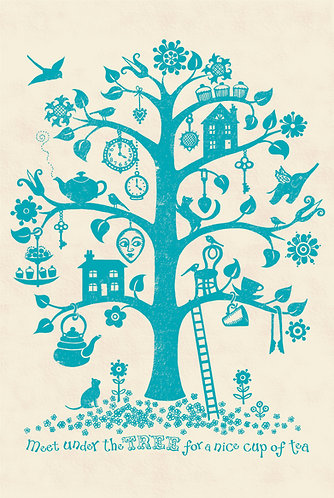 tree print blue for children