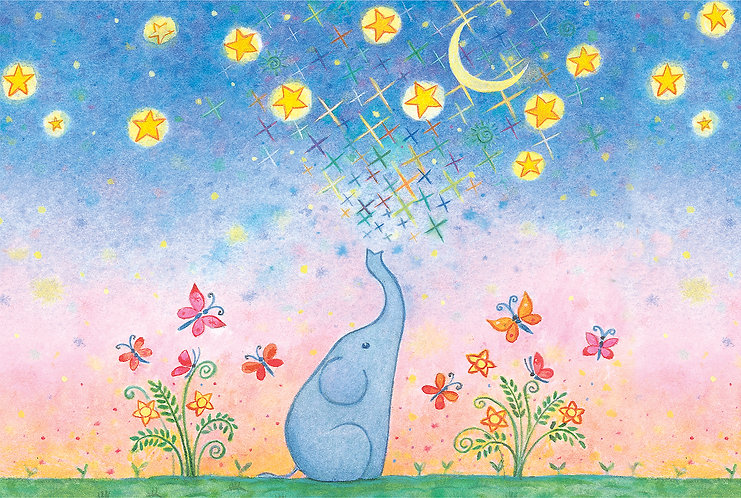 Elephant and star print for children