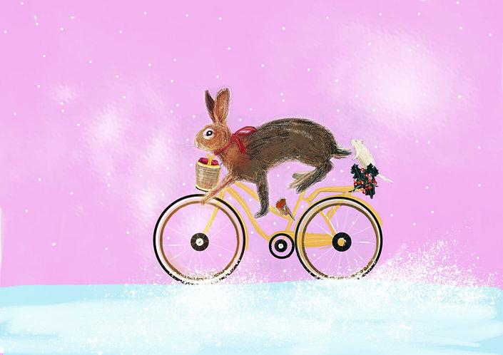 Rabbit in snow print for children's rooms