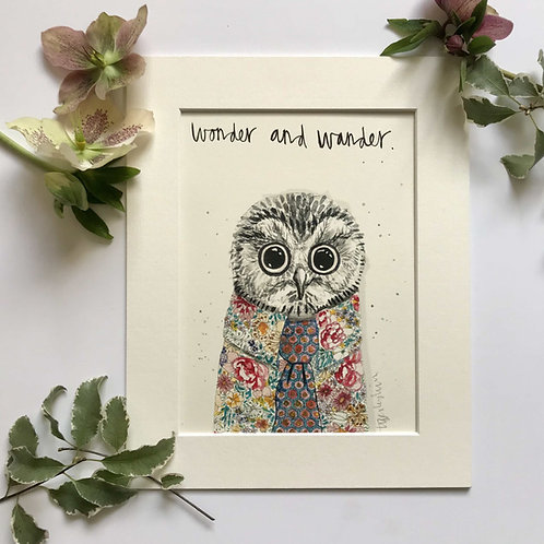 Owl art print for kids rooms