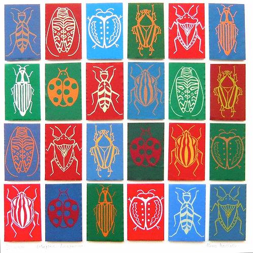 multicoloured beetle print