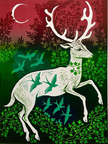 Stag and Birds by Teresa Winchester