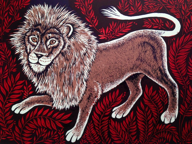 Lion and Leaves by Teresa Winchester
