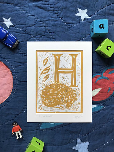 Initial Letter Print H (personalised) by The Mama Bjorn