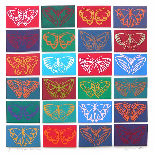 multicoloured butterfly print