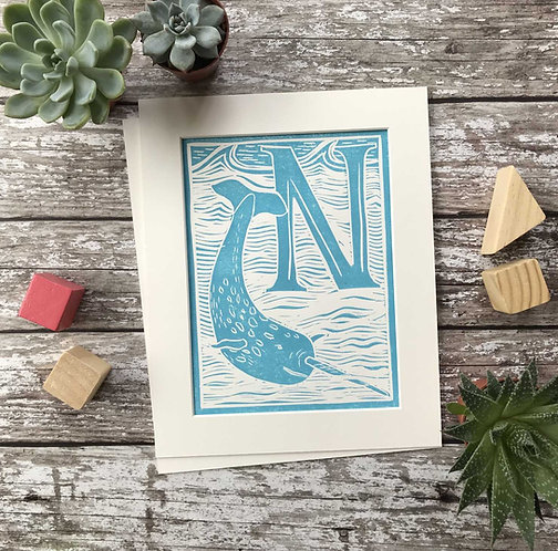 Initial Letter Print N (personalised) by The Mama Bjorn
