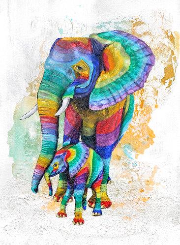 Rainbow Elephants 6 by Raph Thomas