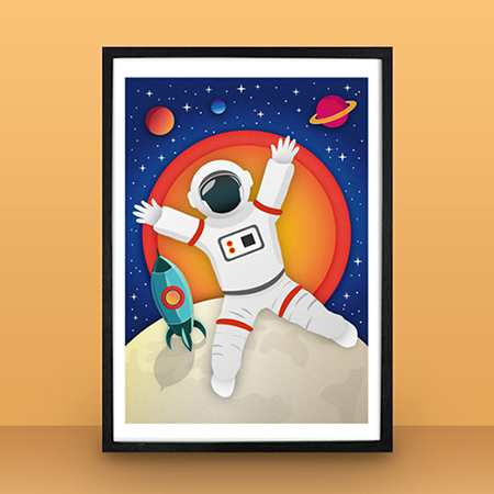 Moon and Spaceman poster