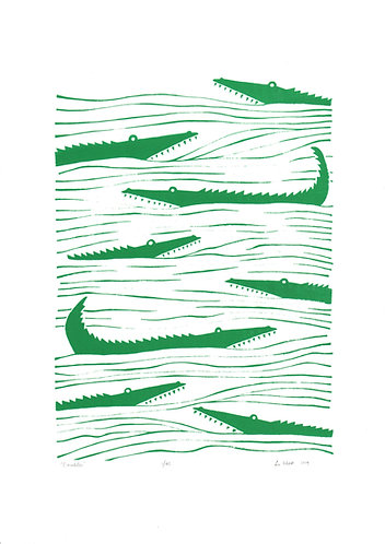 Crocodiles Screen Print in Emerald Green by Lu West
