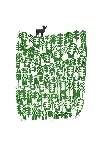 Deer screen print