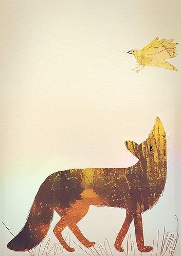 Golden fox art print for kids