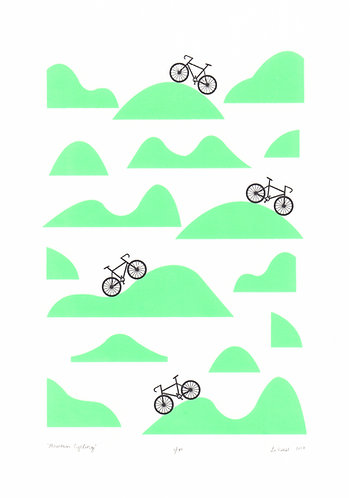 Mountain Cycling Screen Print in Retro Mint by Lu West