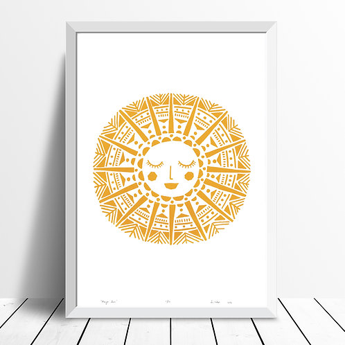 Maya Sun Screen Print in Yellow Ochre by Lu West