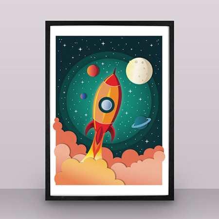 Rocket nursery poster